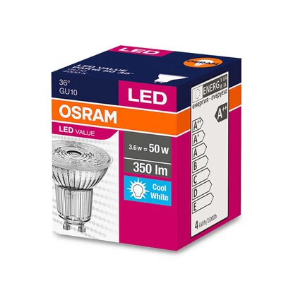 Osram LED-es izzó value GU10 / 3,6 W (350lm) hidegfehér